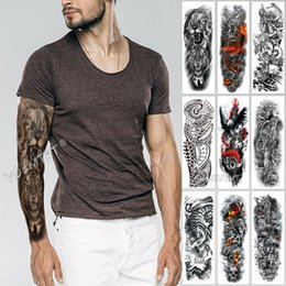 large men tattoo stickers UK - Large Arm Sleeve Tattoo Sketch Lion Tiger Waterproof Temporary Tattoo Sticker Wild Fierce Animal Men Full Bird Totem Tattoo