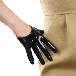 $enCountryForm.capitalKeyWord Australia - Patent Leather Short Style Women Gloves Emulation Genuine Leather Unlined French Gothic Rock 13cm Female Gloves P011