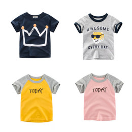 Shirts Designs For Girls Summer Australia - Free DHL Designing Boys Tees Summer Infant Cotton Girls Tee Cartton Car Dinosaur Monkey Shark TODAY AWESOME Letters T-shirts Suits For 1-10T