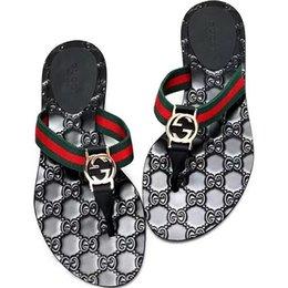 Toptan satış Kutu ile Kadın Sandalet Tasarımcı Ayakkabı Lüks Slayt Yaz Geniş Düz Kaygan Sandalet Terlik Flip Flop boyutu 35-45 çiçek kutusu