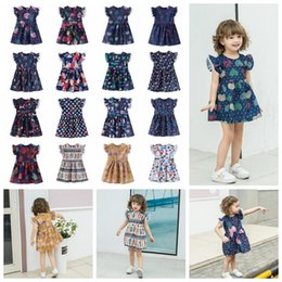 summer flowers 2020 - 17 Styles Ins Baby Girls Dress Lace Flying Sleeves Princess Dresses Summer Flower Printed Cartoon Kids Party Dress CCA11