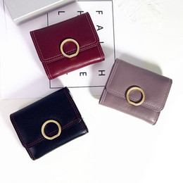 $enCountryForm.capitalKeyWord Australia - Belle2019 Three Leather Genuine Compromise Short Fund Woman Tide Hasp Soft Cowhide Ol Metal Round Buckle Card Position Wallet