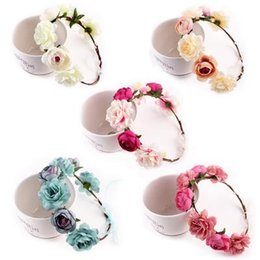 bohemian hair accessories for women Canada - Bohemian Flower Crown Headbands Wedding Wreath Bridal Headdress Hairband Hair Band Accessories for Women Lady 6 Colors Christmas Gift