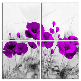 $enCountryForm.capitalKeyWord Australia - Amosi Art 4 Panels Canvas Print Wall Art Purple Poppy Painting Stretch Framed Flower Picture Black and White Artwork for Living Room Decor