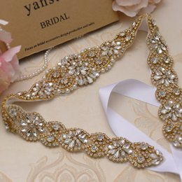 Wholesale MissRDress Gold Crystal Bridal Dress Sashes Belt 57cm Length Beads Rhinestones Sashes And Belt For Wedding Dresses YS834