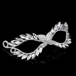 $enCountryForm.capitalKeyWord Australia - Crystal Mask Silver Tone Venetian Bridal Masquerade Rhinestone Crystal Eye Mask Halloween Fancy Dress Ball Party Mask