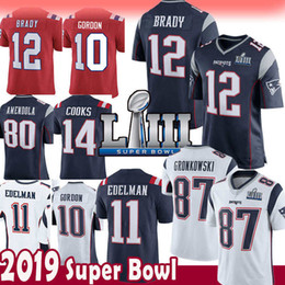 Chinese  12 Tom Brady 87 Rob Gronkowski Jersey New Patriots 11 Julian Edelman 80 Josh Gordon 14 Brandin Cooks 2019 Super Bowl LIII 15 Hogan Harrison manufacturers