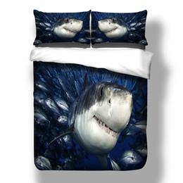 $enCountryForm.capitalKeyWord Australia - Blue Sharks ocean Bedding Set Single Double King Size for kids boys Bed Cover Set cartoon fashion of Bedding Supplies