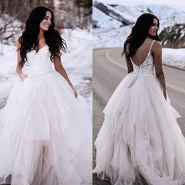 ball gown sheer top NZ - Winter Ball Gown Wedding Dresses 2020 Plus Size Cheap Country Straps Top Lace Wedding Dresses Bridal Gowns Floor Length Tulle Princess