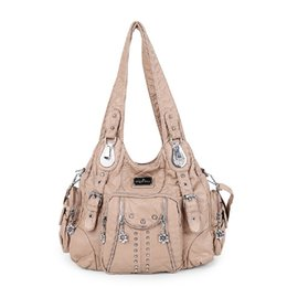 gold handles UK - Angelkiss Women's Shoulder Bag Soft Handbag Fashion Shopping Bags Sac A Main Pu Top-handle Bags Female Satchel Large Hobo Bag MX190716