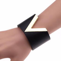 $enCountryForm.capitalKeyWord NZ - Chandler 2018 V Rivet Bangle For Women Trendy Punk Gothic PU Leather Pastel Harness Wide Wrap Bracelet Femme Wristband Jewelry