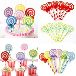 $enCountryForm.capitalKeyWord NZ - Lollipop Shaped Brithday Insert Cards Party 6PCS Set Candy Color Bowknot Festival Decoration Cake Decorations