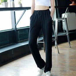 Wholesale black trousers for ladies for sale – dress Women Sport Loose Pants With Pocket Ladies Solid Color High Waist Trouser For Outdoor Sweatpants