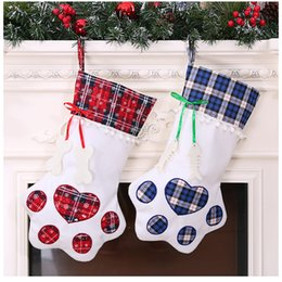 gift bags dhl shipping 2019 - Christmas Stocking Monogrammed Pet Dog Paw Gift Bag Plaid Xmas Stockings Tree Ornaments Decorations Party Decoration 2 S