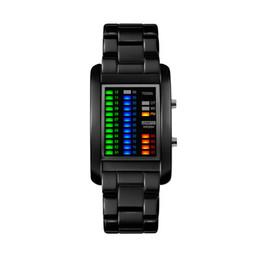 $enCountryForm.capitalKeyWord Australia - New Luxury Men LED Watch Digital Stainless Steel KASI Brand Watches Black Silver Wristwatches Clock Gifts
