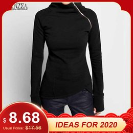 Wholesale slim fit solid hoodie for sale – dress ZANZEA Autumn Hoodies Sweatshirts Women Casual Solid Long Sleeve Pullover Turtleneck Slim Fit Zippers Sweatshirt Plus Size