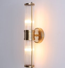 Wholesale Modern Lustre Crystal Wall Lamp Bronze Silvery Bedroom Led Wall Lights Fixtures Living Room Wall Sconce Lights LLFA
