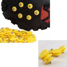 Опт 100 штук скобы бутсы Скалолазание Шипы снег лед захваты нескользящие шпильки желтый, подходят Сапоги, Кроссовки, повседневная и парадная обувь