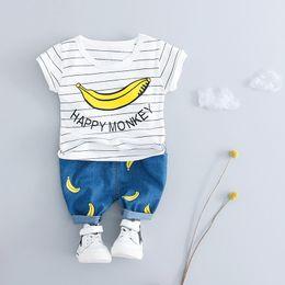 $enCountryForm.capitalKeyWord Australia - Wholesale Cotton Male Baby Girl Summer banana Pattern T-Shirt Top+ Shorts 2 Piece Newborn Baby Boy Clothes Sports Suit