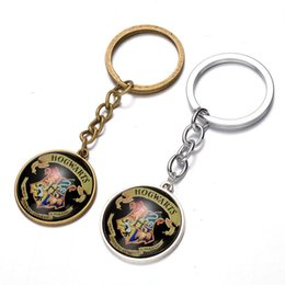 harry glasses Australia - Vintage Precious Glass Cabochon Harry Pendant Keychain Potter Hogwarts School Badge Car Bag Keyring Bronze Chain School Badge Keychain