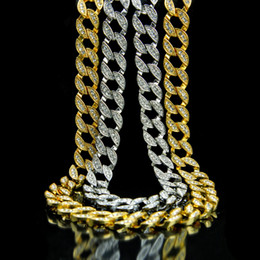 boys curb chains NZ - New Fashion Mens Hip Hop Iced Out Rhinestone Gold Cuban Link Chain Necklace Miami Hiphop Curb Rapper Chains Jewelry Gifts for Boys for Sale