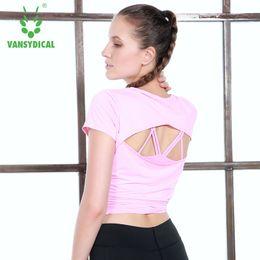 Grils Shirts Australia - Women Backless Yoga Shirt Loose Tops Fitness Gym Workout Running Sportswear Grils Short Sleeve #731014