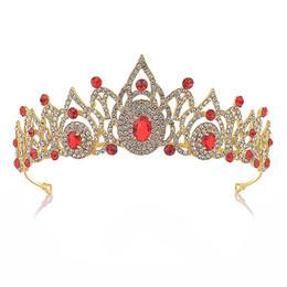 $enCountryForm.capitalKeyWord Australia - Women Gold Color Vintage Red Crystal Bridal Tiara Wedding Hair Accessories Rhinestone Pageant Prom Crown for Bride LB