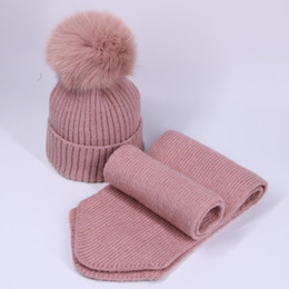 Children CroChet fox hat online shopping - Child Wool Knitted Scarf Hat Set With Real Fox Fur Pompons Girls Winter Warm Thick Crochet Hat Scarves Pieces suits