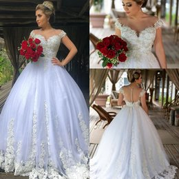 short ball gown wedding dresses sleeves Australia - Modest Short Sleeves Ball Gown Wedding Dresses 2019 Covered Buttons Sequin Applique Lace Plus Size Wedding Bridal Gowns