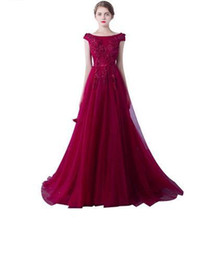 red carpet prom dresses UK - 2019 New Robe De Soiree Evening Dresses The Married Banquet Elegant Wine Red Lave Flower Long Party Prom Dresses Custom Size 488