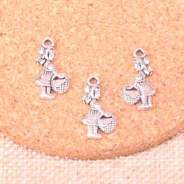 Hat Making Crafts Australia - 123pcs Antique Silver Plated little red hat girl Charms Pendants fit Making Bracelet Necklace Jewelry Findings Jewelry Diy Craft 21*11mm