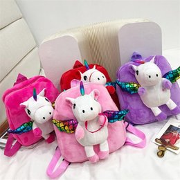 $enCountryForm.capitalKeyWord Australia - Unicorn Children backpack Cartoon School Backpack Kindergarten Kids Crystal Velvet Plush Toy Shoulder Bag 4 color EMS FJ494