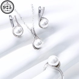 $enCountryForm.capitalKeyWord Australia - Pearl 925 Sterling Silver Bridal Jewelry Sets For Women Wedding Pearls Jewelry CZ Clips Earrings Rings Necklace Pendant Set