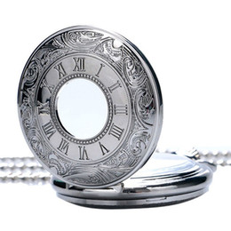 Silver Antiques Australia - Silver bronze black Roman Arabic digital quartz antique pendant pocket watch with necklaces and chains for men and women in pockets
