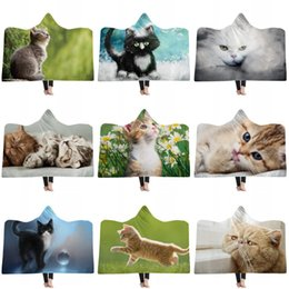 Dog rabbits online shopping - Rabbit Cat Dog Picture Printed Double Plush Warm Beach Towel Home Thickened Hooded Cloaks Children Adult Winter Hat Cloak Blanket jm2 hh