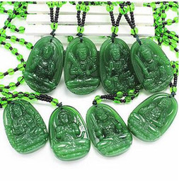 patron saints pendants UK - Green Agate Eight Patron Saints Pendant Shineshen Buddha 12 Zodiac Men and Women Buddha Statue Pendant