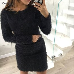 white bodycon sweater dress Australia - Fashion Dress Winter Sexy Plush Sweater Women Party Sheath Column Night Bodycon Christmas Black Clothing Mini Bandage Knitted Dress For