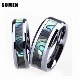 $enCountryForm.capitalKeyWord Australia - et engagement rings 2Pcs 6MM&8MM Set For Couple Tungsten Ring Luxury Abalone Shell Wedding Engagement Ring Lover's Jewellery alliance an...