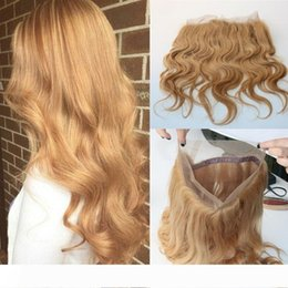 blonde body wave full lace UK - Honey Blonde 27# 360 Band Full Lace Frontal 22.5*4*2 Brazilian Virgin Hair 360 Degree Lace Frontal Closures Swiss lace Body Wave