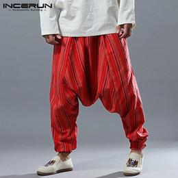 $enCountryForm.capitalKeyWord NZ - INCERUN 2019 Mens Harem Pants Striped Drop Crotch Cotton Linen Joggers Pants Men Hip-hop Loose Nepal Elastic Waist Trousers Men