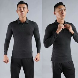 breathable sport polo shirt UK - Autumn Breathable Sport Slim Polo Shirts Men Long Sleeve Camiseta Gym Running Fitness Solid Male Personal Trainer Polo Shirts
