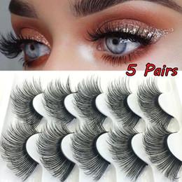 $enCountryForm.capitalKeyWord Australia - 5 Pairs 3D Faux Mink Hair False Eyelash Natural Long Wispies Lashes Handmade Criss-cross Eyelashes Extension Makeup Tools