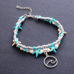 anklets women leather NZ - handmade wave beaded Bracelets jewelry women sexy barefoot sandals starfish ankle bracelets summer beach beads chain anklets bracelet K3695