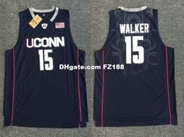 Опт Kemba Walker # 15 UCONN NCAA Сшитые мужские сшитые баскетбол сшитые майки XS- 2XL NEW