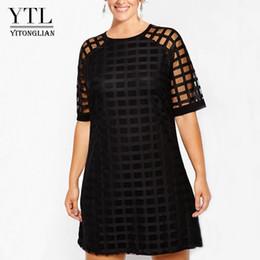 4xl Plus Size Dress NZ - Ytl Women Plus Size Dress Black Mesh Short Sleeve Shift Mini Dress Big Size Summer Vintage Party Dresses 4xl 5xl 6xl 7xl H084 J190622