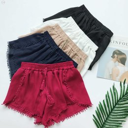 Wholesale trousers tassels resale online - Newest Shorts Summer Style Fashion Vintage Elastic High Waist Female Chiffon Women Casual Shorts Girls Boho Beach Trousers Shorts Short