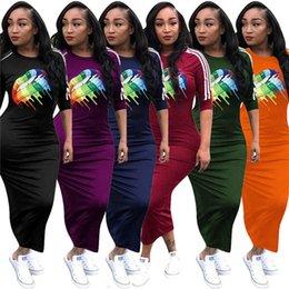 $enCountryForm.capitalKeyWord Australia - Designer Woman Elegant Maxi Dresses Fashion Rainbow Lips Print Bodycon Dresses Mid Sleeve Casual Long Dress Overalls Party Maxiskirt C73104
