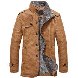 Long Motorcycle Jackets Australia - Men 'S Winter Jacket Men Pu Leather Motorcycle Warm Jackets Plus Velvet Windbreaker Male Casual Long Coat 4xl