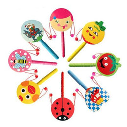 Baby Musical Cartoon Rattles Wooden Australia - Cartoon Drum-shaped Wooden Rattle Traditional Handbell Jingle Rattle Toy Musical Instrument For Baby Kid Randomly Colors Intellectual Toys