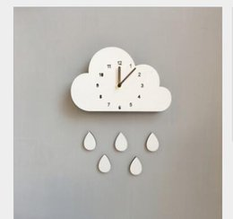 Discount home cloud lighting - Nordic home cloud water droplets mute clock wall decoration children's room